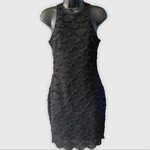 Guess Black Scalloped Lace Fringe Dress 4